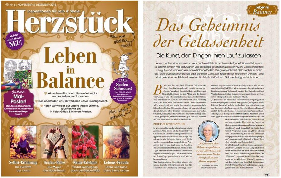 """Mein Buch im """"Herzstück""""-Artikel zum """"Geheimnis der Gelassenheit""""!"""