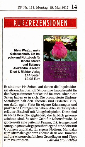 """""""Diese Seiten haben es in sich"""": Rezension für mein Impuls-/Notizbuch im Donau Kurier"""