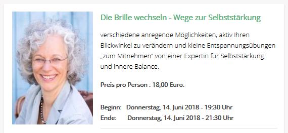 """Abendworkshop """"Die Brille wechseln"""" am 14.06.18 im Kitchen2Soul, München"""