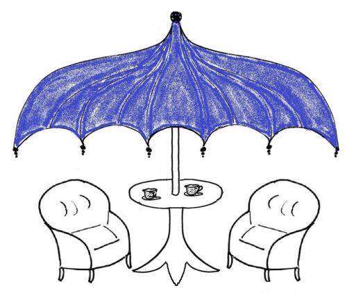"""Blick in den """"Wohlfühlgarten"""": Unterstützung unterm blauen Schirm, Woche 5 (blau)"""