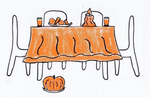 """Blick in den """"Wohlfühlgarten"""": Genuss an der orangen Festtafel, Woche 7 (orange)"""