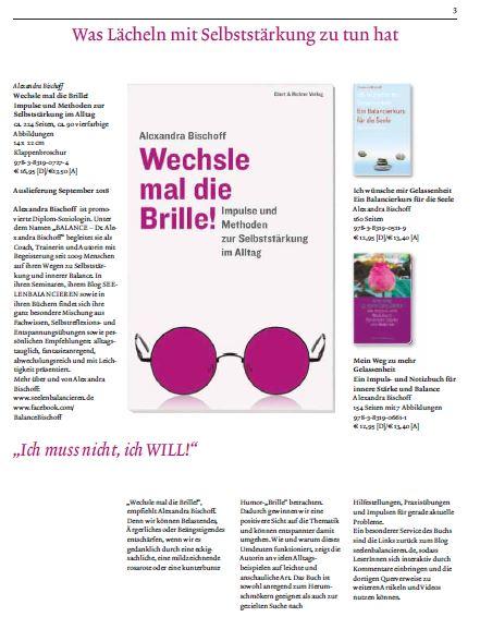 """Schritt für Schritt zu meinem dritten Buch """"Wechsle mal die Brille"""", Teil V: Die Verlagsvorschau Herbst 2018"""