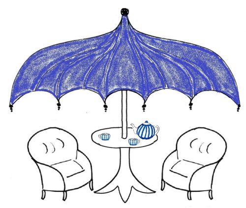"Blick in den ""Wohlfühlgarten"": Coaching-Tea-Time unterm blauen Schirm"